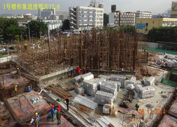 钢结构地下二层钢柱吊装完成